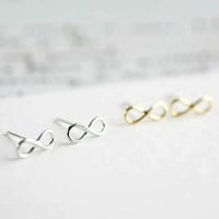 Tiny Chic infinity earrings in gold or silver, simple, everyday, stud earrings