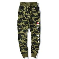 Champion X Bape Aape Popular Unisex Casual Print Green Camouflage Elastic Waistband Sport Stretch Pants Trousers Sweatpants I-CP-ZDL-YXC