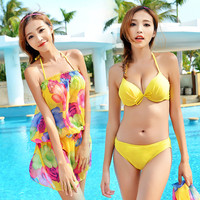 2016 Summer Push Up Bikini Set Chiffon Cover Ups Dress Three piece Swimsuit Bathing Suit For Women Girl Swimwear Beachwear