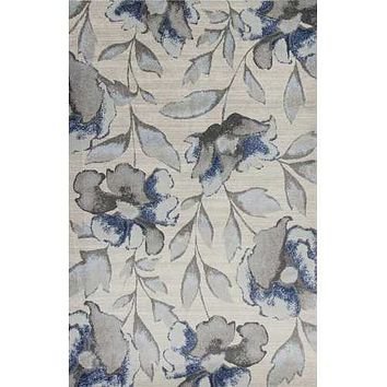 3' x 5' Polypropylene Grey or Blue Area Rug