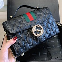 GUCCI New Fashion More Letter Leather Chain Handbag Shoulder Bag Crossbody Bag Black