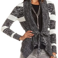 Marled Cascade Cardigan with Belt by Charlotte Russe - Black Combo