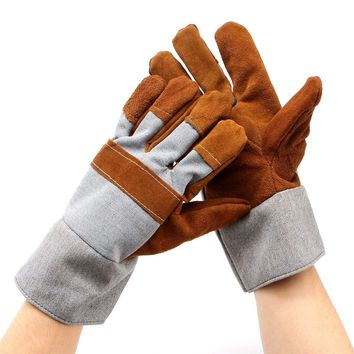Welding WELDERS Work Soft Cowhide Leather Plus Gloves For protecting hand Safety gloves