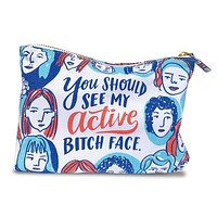 Active Bitch Face Cotton Canvas Cute/Cool/Unique Zipper Pouch/Bag/Clutch/Cosmetic Bag