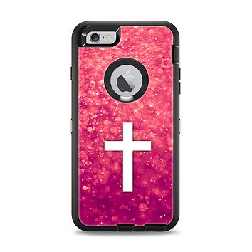 The Vector White Cross over Unfocused Pink Glimmer Apple iPhone 6 Plus Otterbox Defender Case Skin Set