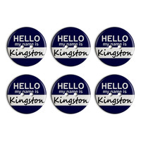 Kingston Hello My Name Is Plastic Resin Button Set of 6