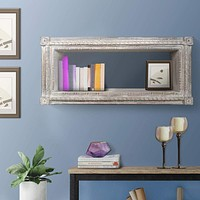 Rectangular Mango Wood Wall Mounted Shelf with Carved Details, Antique White