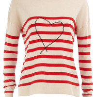 Heart stripe jumper - View All New In - What's New - Dorothy Perkins