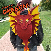 Backpack DRAGON - make your own dragon - funny, cute red dragon - felt - wings - how to train your dragon - game of thrones - made to order