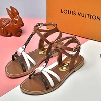 Louis Vuitton LV New Products Hot Sale Women's Personalized Color Blocking Striped Flat Sandals Shoes