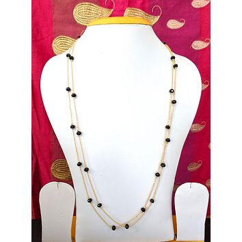 Dual stranded black bead long chain necklace for western wear