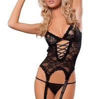 ANDI ROSE Sexy Black Lingerie Corset Set with Matching Thong,One Size