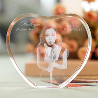 K9 Crystal Heart Fotos Frame 2D Laser Engraved  Family Wedding Photo Album For Valentine's Day Anniversary Picture Frames Gift