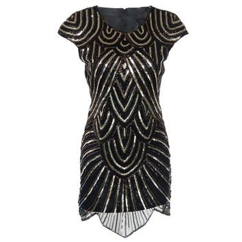 Womens Dress Sexy Club 1920s New Women Summer Sequin Bodycon Dress Celebrity Vintage Hand Knitting Gatsby Art Party Dresses