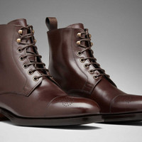 Handmade men dark brown fomal boot, Men laceup ankle leather boots, Boot for men