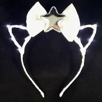 White LED headband, Cat ears, Bow headband, Star headband, Rave wear, Cosplay, Cat ear headband, Anime, Festival, Cat ears headband