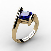 Modern 14K Yellow Gold 2.0 Ct Princess Square Blue Sapphire Kite Setting Engagement Ring R1031-14KYGBS