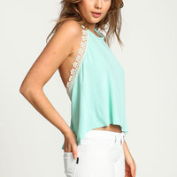 MINT FLOWER CHILD CREPE HALTER TOP
