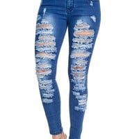 Low-Rise Destroyed Skinny Jeans