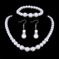 Ivory Pearl and Crystal Bead Necklace Bracelet and Earrings Set for Woman