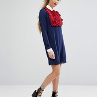 Fashion Union Ruffle Front Contrast Dress With Collar at asos.com