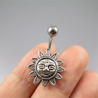 Celestial Sun belly button jewelry ring,sun flower belly ring,smile sun face Belly Button Jewelry,Navel Piercing jewelry,girlfriend gift