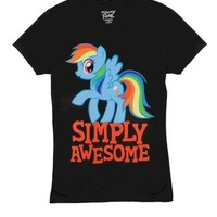 My Little Pony Rainbow Dash Simply Awesome Juniors Black T-Shirt - My Little Pony - Free Shipping on orders over $60   TV Store Online
