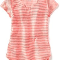Old Navy Striped Rounded Hem Tee For Girls
