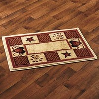 """Accent Rug Hearts Berries Country Rustic Primitive Cabin Farm Burgundy 22"""" x 36"""""""