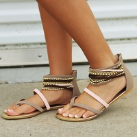 See What I See Sandals: Taupe/Multi