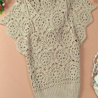 Elegant Floral Crochet Hollow Out Batwing Sleeve Shirt