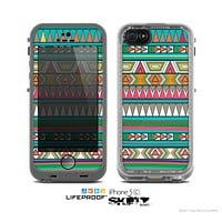 The Tribal Vector Green & Pink Abstract Pattern V3 Skin for the Apple iPhone 5c LifeProof Case