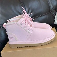UGG new mid-top lace-up plush Martin boots fashion men and women winter cotton shoes snow boots