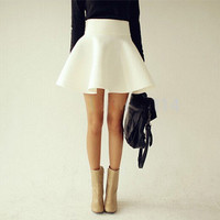 Vintage High Waist Flared Puff Skirt  [7571942406]