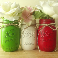 Rustic, Hand Painted Mason Jars | Three Painted Mason Jars | Home Decor -- Red, Green and White