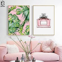 Pink Style Posters and Prints Monstera Canvas Painting Wall Art Decorative Nordic Perfume Picture for Living Room Decoration