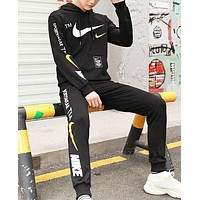 NIKE Autumn And Winter New Fashion Letter Hook Print Long Sleeve Top And Pants Two Piece Suit Black