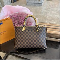 LV Fashion New Monogram Print Leather Handbag Shoulder Bag Women Black