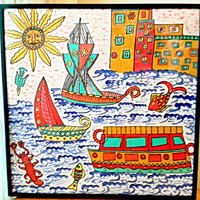 The Boston Harbour-Original Madhubani Painting Acrylic on Paper , Fusion of Contemporary with Traditional Art Form