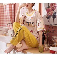 Cotton Short Sleeve Pajamas Set Sleepwear