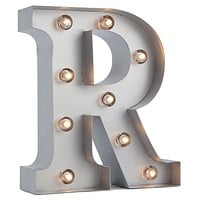 BLOWOUT Silver Marquee Light Letter 'R' LED Metal Sign (8 Inch, Battery Operated w/ Timer)