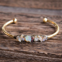 ETHIOPIAN OPAL STONE Bangle - Raw Natural Crushed Gemstone Healing Gold Bracelet Boho Chic Gypsy Arm Candy Gifts for her October Birth Stone