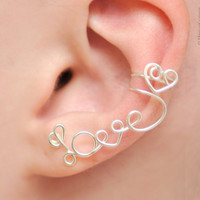 "No Piercing Left Ear Cuff ""LOVE"" with a heart - silver plated"