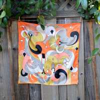 Vintage Sillook Scarf, Orange and Black Art Deco Style Design, Square Polyester Scarf, circa 1960s
