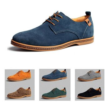 Men Faux Suede Leather Shoes Lace-up Formal Bussiness Flats Male Oxfords Casual Shoes Spring Autumn Fashion Driving Footwear