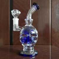 Thick Glass Bongs Bent Type Glass Water Pipes Fab Egg Smoking Pipe Recycler Oil Rigs Bong 2 Function