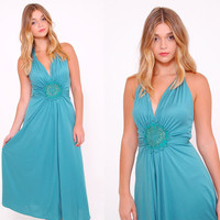Vintage 70s Teal HALTER Dress FLORAL Appliqué Dress GLAM Evening Dress Disco Dress