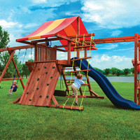 Kid's Creations Pot O' Gold with Monkey Bars Redwood Swing Set