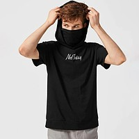 Fashion Casual Men Slogan Graphic Hooded Snood Tee