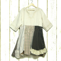 2X Linen & Cotton Tunic Dress, Upcycled Clothing, Boho Chic Clothing, Free People Anthropologie Inspired, Lagenlook Clothing